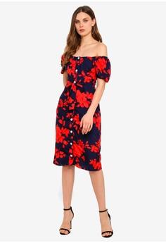 1286e868745 Goddiva navy Cosmochic - Bardot Floral Print Midi Dress 81888AA4490963GS 1