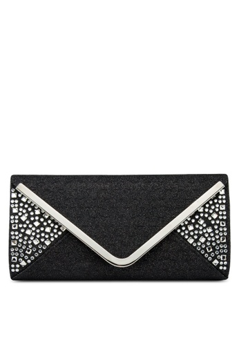 Unisa black UNISA V-Metal Dinner Clutch with Glittering Stones & Crystal Embellishment UN821AC13ISCMY_1