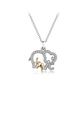 Glamorousky white 925 Sterling Silver Fashion Simple Two-tone Elephant Pendant with Cubic Zirconia and Necklace AA2C0AC4CC7C92GS_1