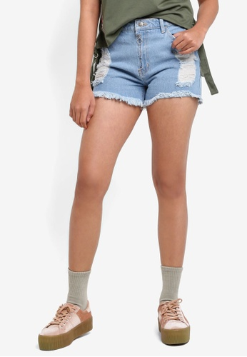 Penshoppe blue Denim Shorts With Zipped Details B9758AA2ED3745GS_1