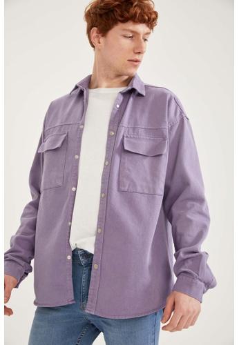 DeFacto purple Long Sleeve Cotton Shirt F88A8AABC75809GS_1