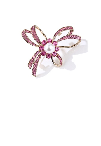 Glamorousky white Simple and Fashion Plated Gold Ribbon Imitation Pearl Brooch with Pink Cubic Zirconia CEA50AC05C9C46GS_1