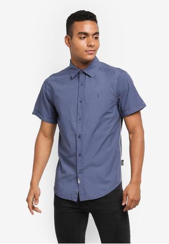 Indicode Jeans 藍色 休閒短袖牛津襯衫 575AEAAF4947A6GS_1