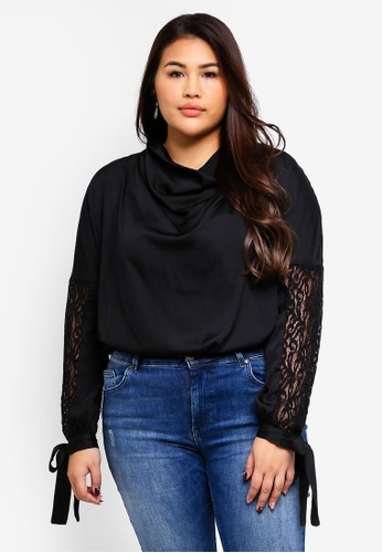 Only CARMAKOMA black Lace Long Sleeve Top 9C7BBAA450FF12GS_1