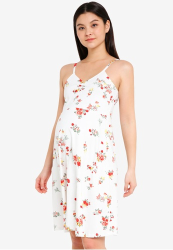 Dorothy Perkins white Maternity Ivory Floral Lettuce Dress 5DA93AA6AAC9D6GS_1