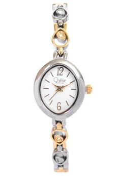 Twotone Plate Dress Watch With White Dial