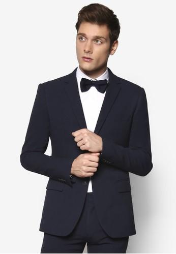Seesprit暢貨中心ersucker 修身西裝外套, 韓系時尚, 貼身版型