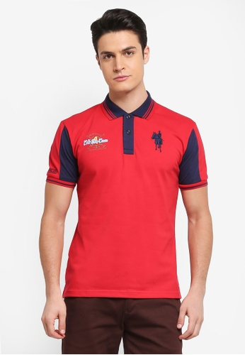 Fidelio red Contrasted Sleeves and Collar Polo Tee C0E52AA2F09018GS_1