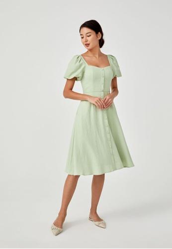 Love, Bonito green Kirsi Textured Puff Sleeve Midi Dress 31F22AA00878B3GS_1