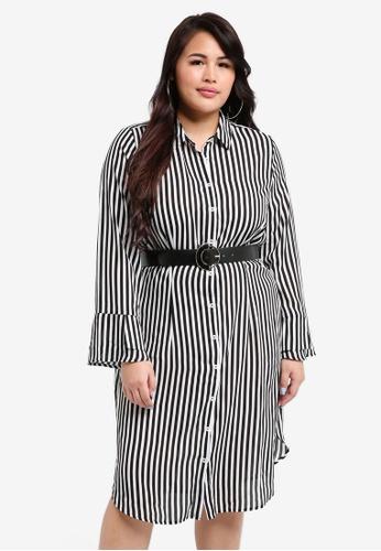 LOST INK PLUS multi Plus Size Shirt Dress In Stripe With Belt 4423BAA49D6275GS_1