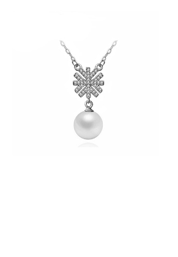 Glamorousky white 925 Sterling Silver Snowflake Necklace with White Fashion Pearl 96DF1AC4D86C58GS_1