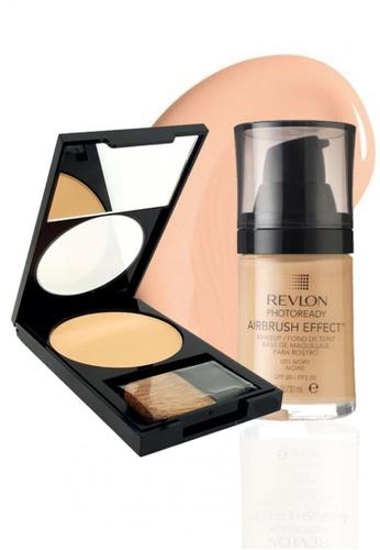 Revlon beige Revlon PhotoReady Airbrush Effect™ Makeup 001 Ivory 30ml + Revlon PhotoReady™ Powder 020 Light/ Medium 7.1g RE737BE16CXVSG_1