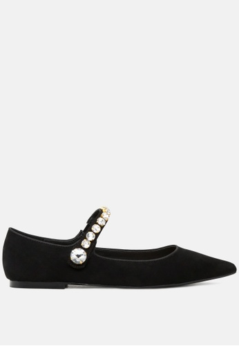 RAG&CO black Pointed Toe Ballerina Flats with Jewel Strap RCSH1813 7D1E3SH419C7F1GS_1
