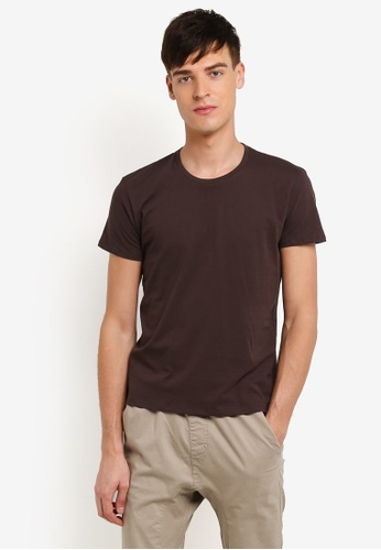 Electro Denim Lab brown Cotton Crew Neck Tee EL966AA0RWIDMY_1