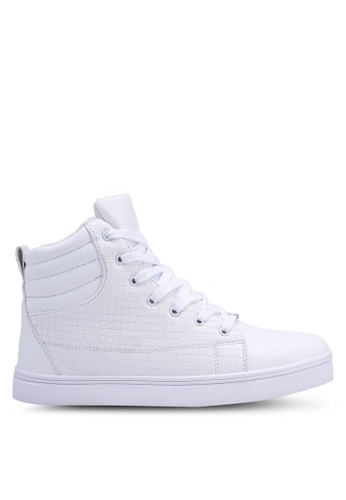 Rocklander white High Top Textured Sneakers 59AEASH32122B6GS_1