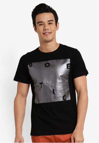 ZALORA black Poetic Foil Printed Tee 6B202AAB919C3BGS_1