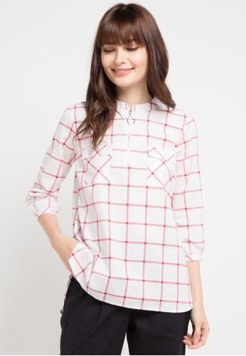 Le'Rosetz white and multi Zip Front Collarles Shirt 54DE5AAC1097EFGS_1