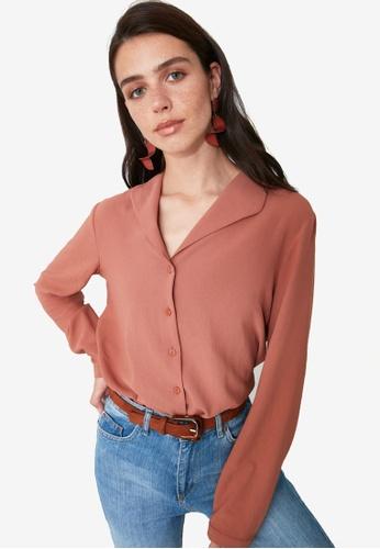 Trendyol orange Wide Collar Detail Shirt 75BCCAA9D31CA8GS_1