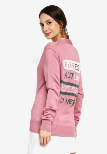 Hopeshow pink Long Sleeve Cardigan with Back Embroidery 41FF0AABD5BB5AGS_1