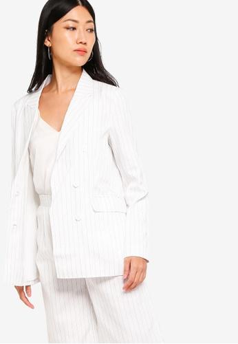 ZALORA white and multi Double Breasted Blazer 1C447AA64B37D2GS_1