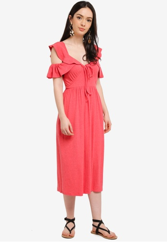 LOST INK pink Cut Out Shoulder Frill Midi Dress 92A4AAA947B73FGS_1
