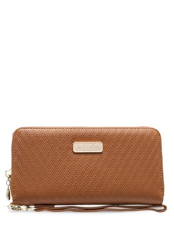 Unisa brown Debossed Ladies Zip-Around Wallet 76AE0AC17B0D4EGS_1