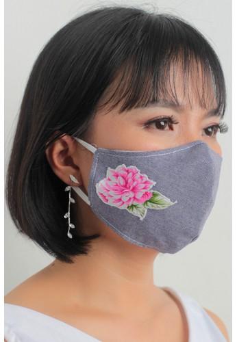 DhieVine Batik multi and grey Facemask Denim Bordir Bunga Pink Earloop(2PCS) 5666BES6509DC2GS_1