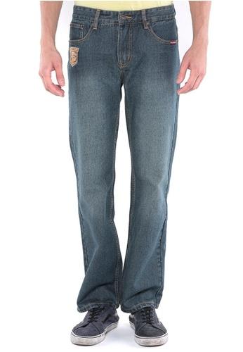 POLO HAUS blue Polo Haus - Straight Cut Long Jeans (Dark Blue) PO783AA90FRXMY_1
