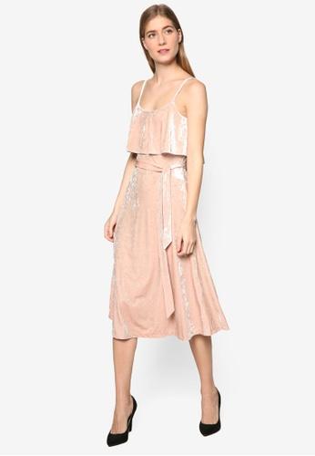 WAREHOUSE beige Crushed Velvet Cami Dress WA653AA96KJRMY_1
