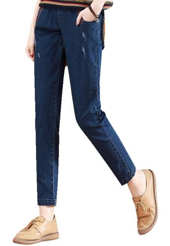A-IN GIRLS navy Elastic Waist Versatile Jeans 6FD7EAA094FA1CGS_1