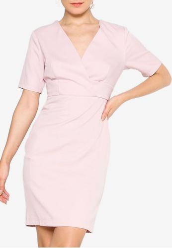 ZALORA WORK pink Overlap Short Sleeves Sheath Dress 0C9F5AAA462F35GS_1
