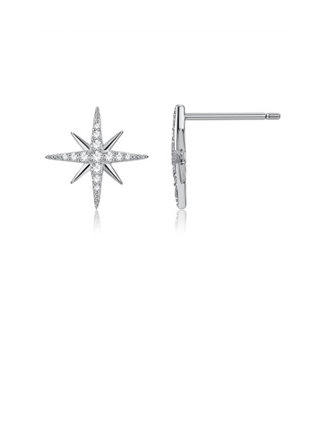 Glamorousky white 925 Sterling Silver Simple Star Cubic Zirconia Stud Earrings 97FB4AC90985DCGS_1