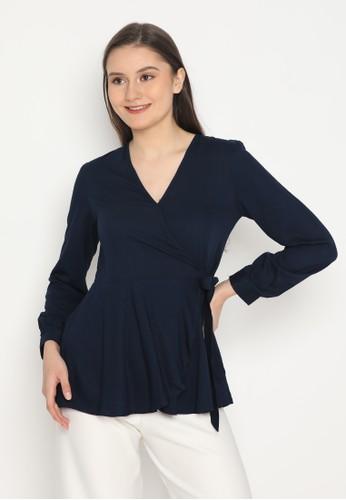MINEOLA navy MINEOLA Kimono Wrap Long Sleeves Blouse B63C3AA517E453GS_1