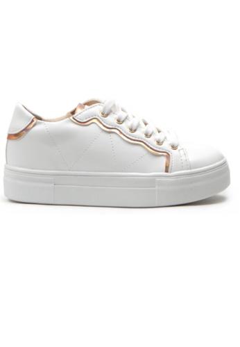 Crystal Korea Fashion white and gold Korean New Versatile Comfortable Casual Shoes B3616SHC340C6DGS_1