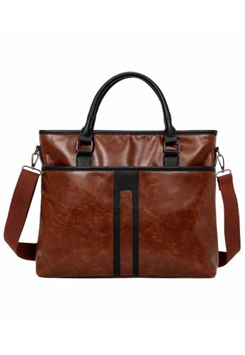 Lara brown Top Handle Zipper Briefcase With Cross Body Strap - Brown BE310AC504467FGS_1