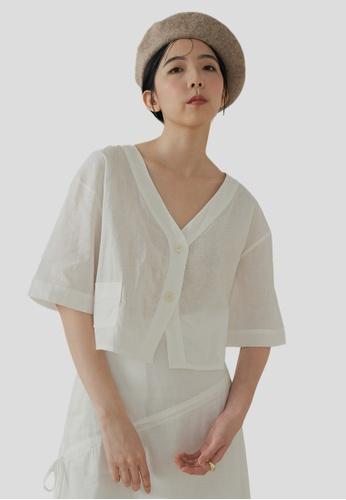 We Enjoy Simplicity white Beth Button Linen Short Top (Daisy White) 67503AA1C70544GS_1