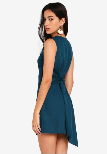 ZALORA green Sleeveless Dress with Waist Tie 61F35AA7DF17E8GS_1
