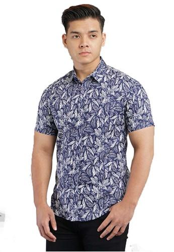 UA BOUTIQUE blue Short Sleeve Shirt Batik SSB118-041 (Blue/ White) 2CADDAAAC3A329GS_1