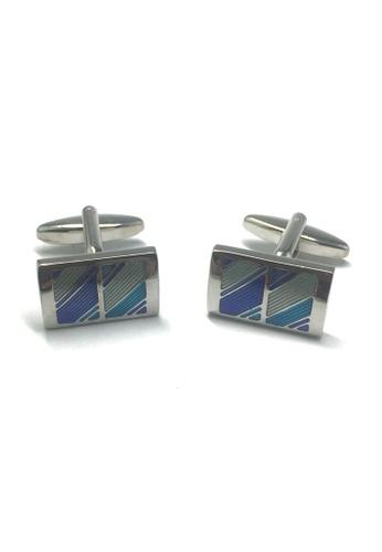 Splice Cufflinks Rectangular Blue Striped Cufflinks SP744AC22ABTSG_1