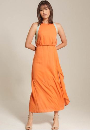 Dressing Paula orange Colour-Block Chiffon Maxi Dress ED1ECAA858B112GS_1