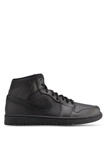 Nike black Men's Air Jordan 1 Mid Shoes NI126SH06AXDMY_1