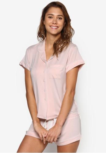 Abigail 短袖襯衫睡衣套裝,zalora 衣服尺寸 服飾, 服飾