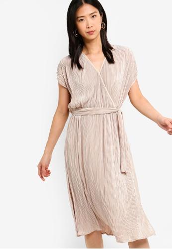 ZALORA BASICS pink Basic Plisse Wrap Front Midi Dress 33E7DAA1BBB6B8GS_1