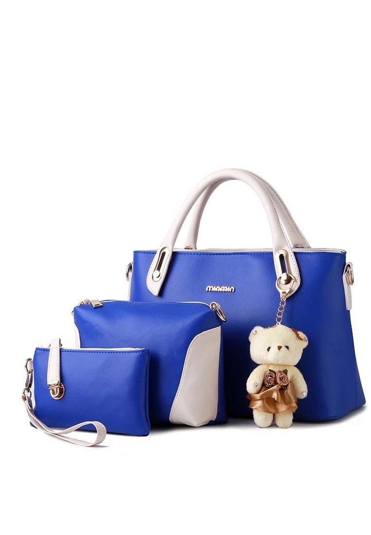 KL16008 Korean Style 3 in 1 Handbag with Teddy Bear Design