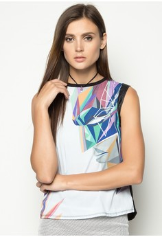 Sleeveless Boxy Graphic Tee with Leather Detail
