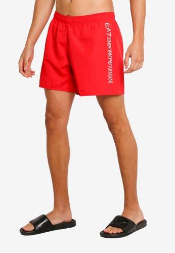 EA7 red Sea World BW Silver Logo Swim Shorts C4210USA321CD2GS_1