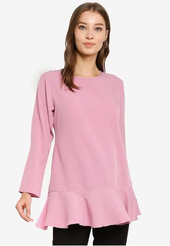 Aqeela Muslimah Wear pink Back Button Blouse EE634AAC5C8A80GS_1