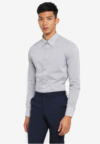 G2000 grey Dot and Line Cotton Long Sleeve Shirt FEA44AAE7018AAGS_1