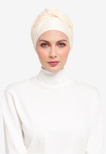 Ilham Echenta for ZALORA yellow Stripey Organza Celine Turban IL554AA0SY2DMY_1