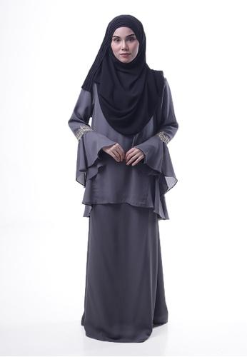 Denai Boutique grey Baju Kurung Esra F7152AA903FFE7GS_1